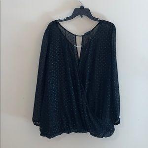 Lane Bryant black semi sheer blouse